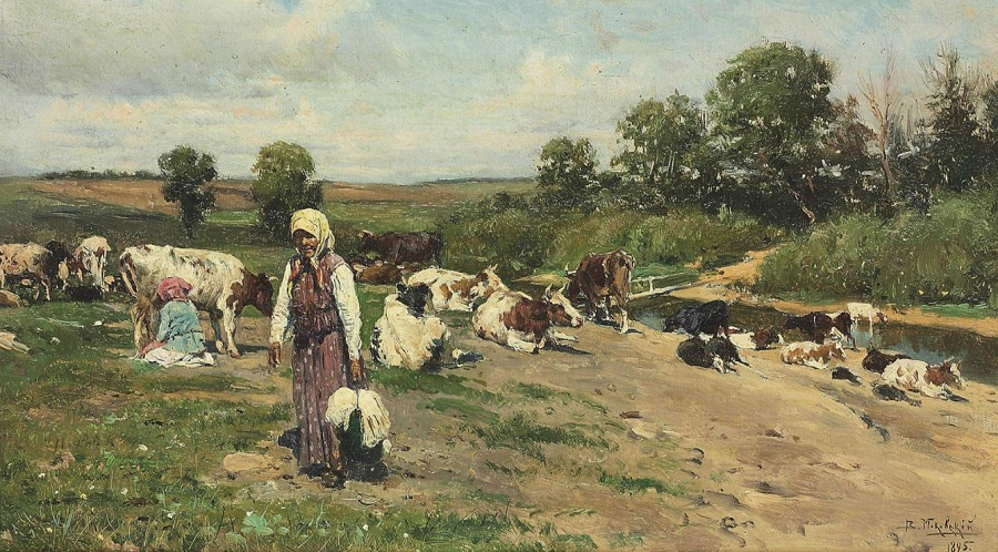 Herd by the river , 1895.