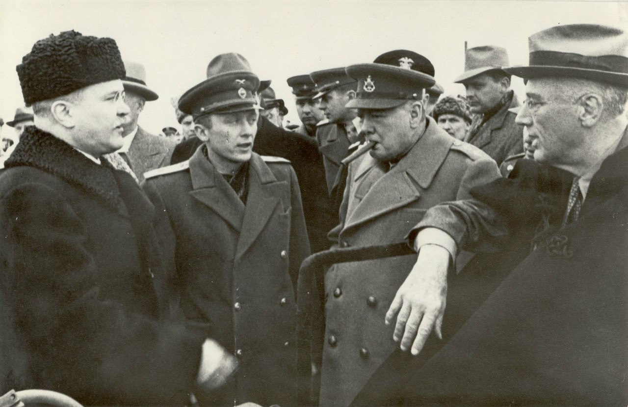 В.Молотов, У.Черчилль и Ф.Д.Рузвельт